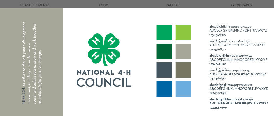 National 4-H Council Branding Style Graphic Elements: Logo, color palette, typography, and typographic illustration of mission statement