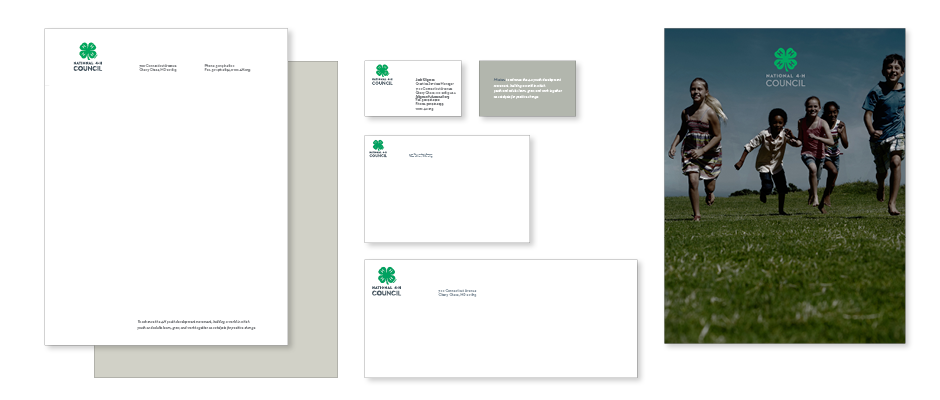 4-H Branding Style Guide for Stationery, letterhead, second sheet, business card, mailing label, envelope, and Folder