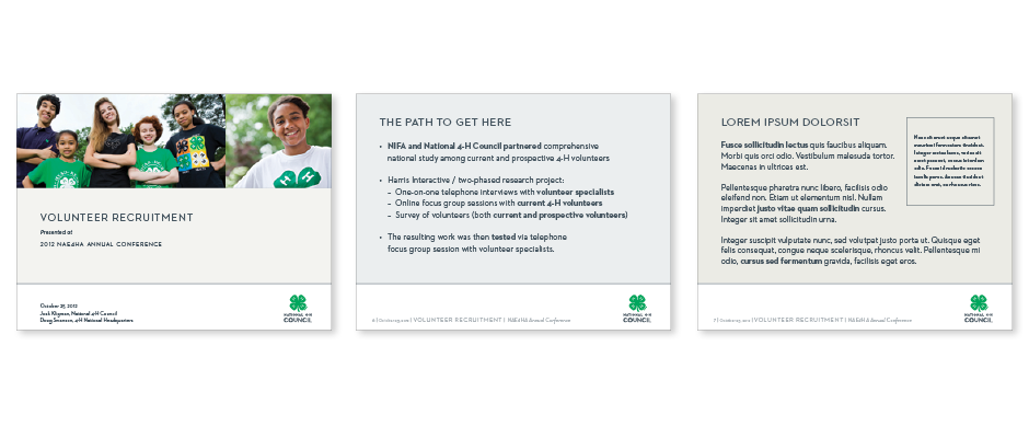 National 4-H Branding: Powerpoint template title, and text slides design