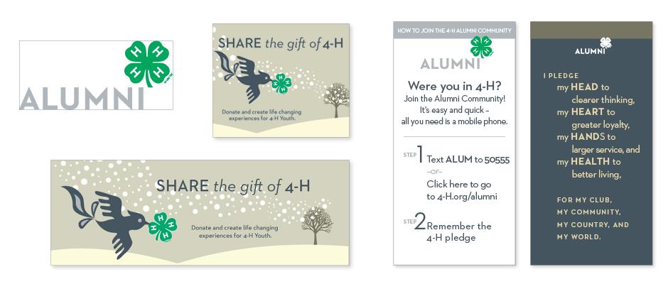 National 4-H Alumni logo, pocket card and holiday card