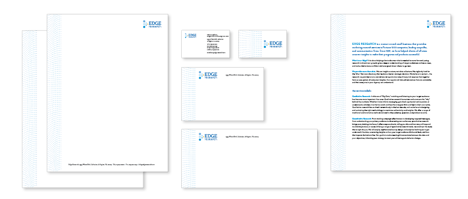 Edge Research Stationery and sell sheet showing the brand color palette, consistent logo placement and brand pattern creating a comprehensive graphic design system for the company brand.