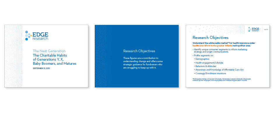 Edge Research powerpoint title, divider and text sides show an effective branding system. Consistent use of color palette, logo placement, and brand pattern create a powerful look and feel for the company.