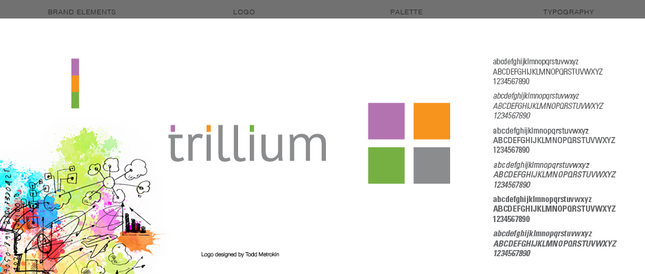 Graphic style guide for Trillium showing the logo, the color palette, brand illustration, stacked graphic element, and typography used by the brand.