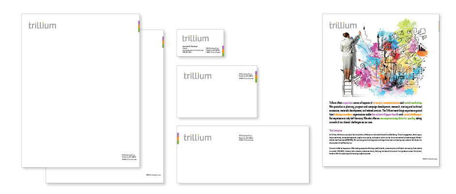 The Trillium branded stationery, letterhead, second sheet, business card, mailing label, business envelope and promotional one sheet.
