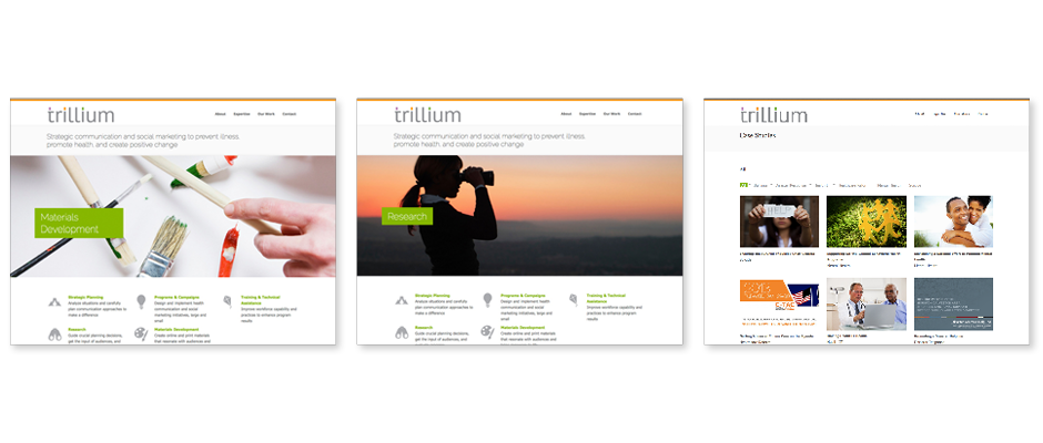 Three screen grab examples of the Trillium website showing brand elements and brand messaging.