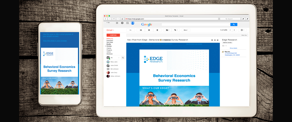 Edge Research MailChimp templates displayed on a phone and tablet showcasing the company's visual branding system.