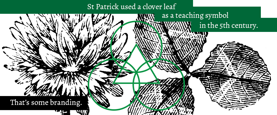 "Brand design history fact for St Patrick's Day of a graphic green clover icon superimposed onto an engraved illustration. Copy reads: ""St Patrick used a clover leaf as a teaching symbol in the 5th century. That's some branding."""