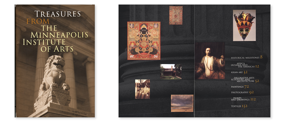 Cover design of the coffee table book Treasures from the Minneapolis Institute of Arts, winner of the AIGA 50 Books 50 Covers award. Photo of the MIA museum with Foo dog.
