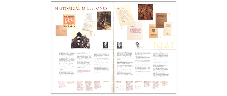 Typographic Historical timeline in the coffee table design book Treasures from the Minneapolis Institute of Arts, winner of the AIGA 50 Books 50 Covers award.