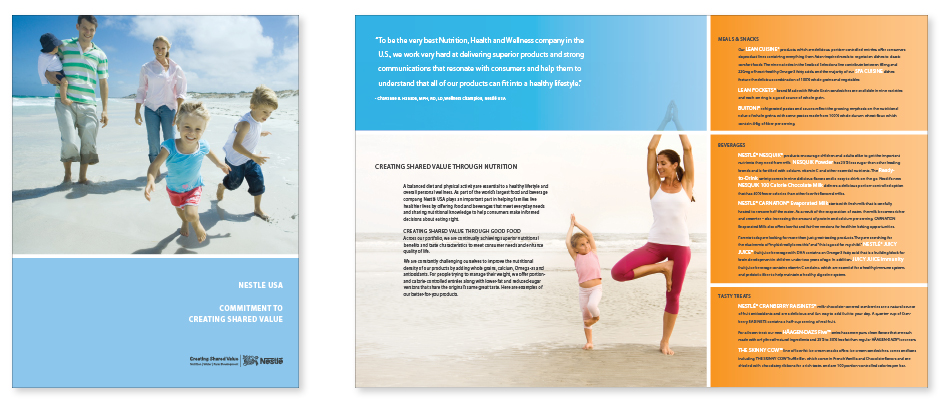 Nestle USA Commitment to Creating Shared Value Brochure Cover design, photo of family playing on the beach; inside page layout with grid of copy and photo of mother and daughter in yoga pose on the beach, typographic treatment sidebar.