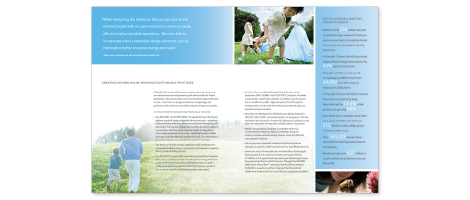 Nestle USA Commitment to Creating Shared Value Brochure inside page layout design with grid of copy and photo of father and son running in meadow, typographic treatment sidebar.