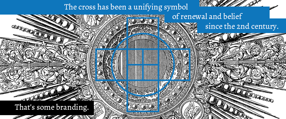 "Brand design history fact for Easter of a graphic blue cross icon superimposed onto an engraved illustration. Copy reads: ""The cross has been a unifying symbol of renewal and belief since the 2d century. That's some branding."""